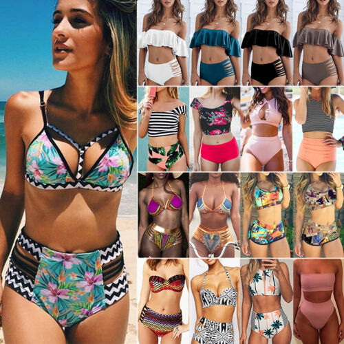 Damen Bikini Set High Waist Push Up Gepolstert Zweiteiligen Bademode Badeanzug