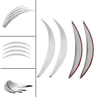 4Pcs Universal Car Wheel Eyebrow Protector Arch Trim Flare Fender Strip Chrome
