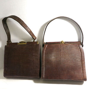 2 Vintage Brown Lizard Skin Purses Bags Handbags
