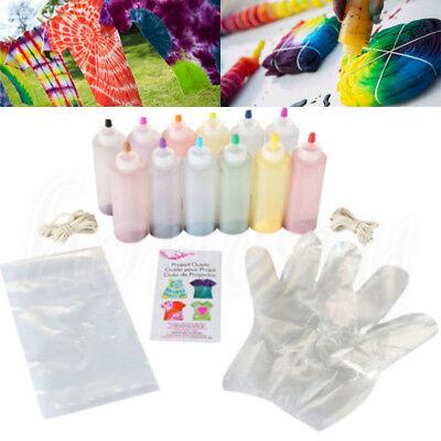 12 Color Fabric Tye Permanent Dye Craft One Step Tie Dyes Kit Arts Design Set V