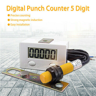 5-digit Digital Lcd Electronic Punch Counter With Switch Resetpause Button New