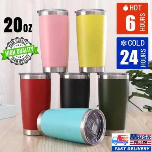 20 oz Vacuum Sealed Steel Tumbler Insulated Coffee Cup Travel Mug W/ Slider