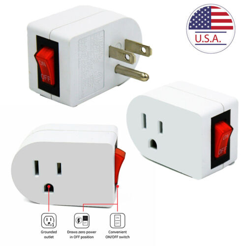 3 Pack Grounded Outlet with ON/Off Switch Single Port Plug UL Listed Energy Save