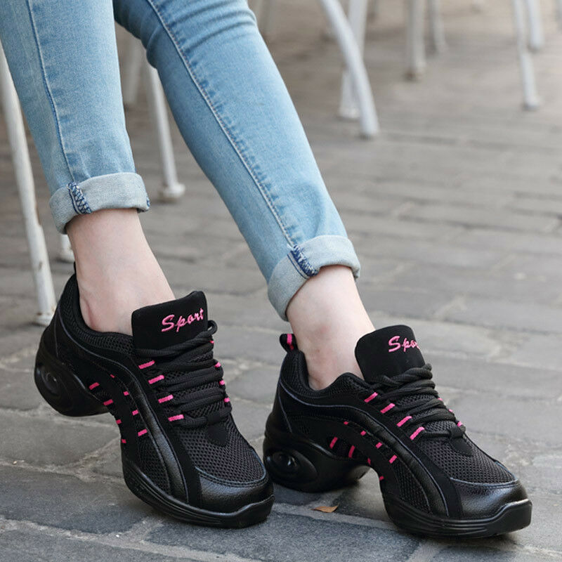Women Fashion Dance Shoes Breathable Net Mesh Jazz Hip Hop Square Dance Sneakers