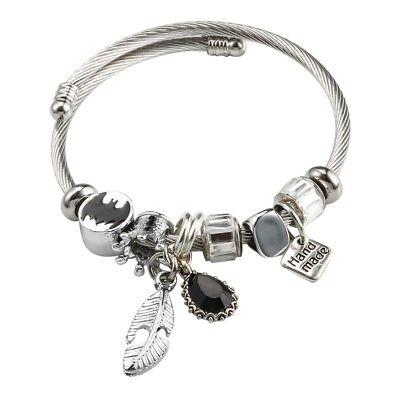 Damen Edelstahl Armreif Armband Silber Charms Anhänger Armschmuck