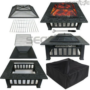 Square Fire Pit Outdoor Patio Metal Heater Deck Backyard Fireplace w/Cover 32