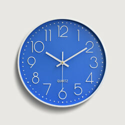 12 30cm Fashion Wall Clock White Large Digital Silent Non Ticking Blue US