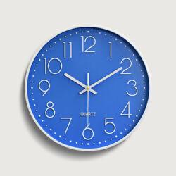 12 30cm Fashion Wall Clock Black Large Digital Silent No Ticking Blue US