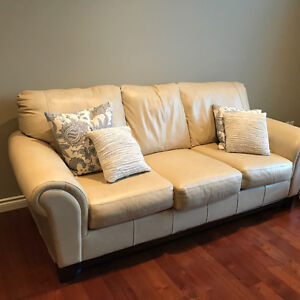 Genuine Leather Cream Couch and Loveseat