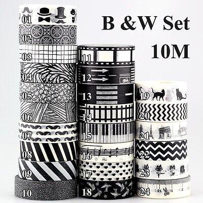 TOP Black and White Set Washi Tape Scrapbooking Masking Tape Adhesive Tapes 10m - Scrapbooking Tape