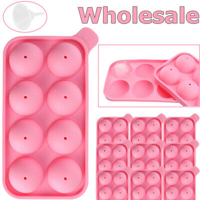 Pink Ice Cubes (LOT Round Silicon Ice Cube Ball Maker Tray 8 Large Sphere Molds Bar+ Funnel)