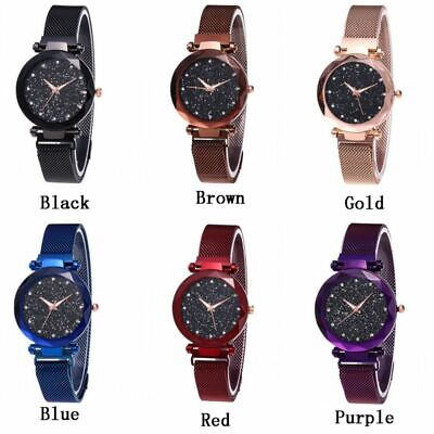 US Women Fashion Watch Starry Sky Crystal Magnetic Stainless Band Wrist Watch ()