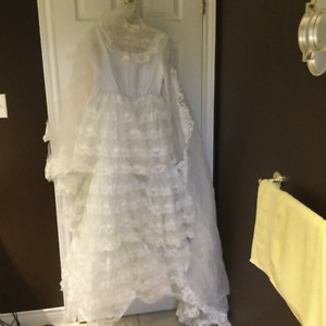 Wedding dress, vail and train