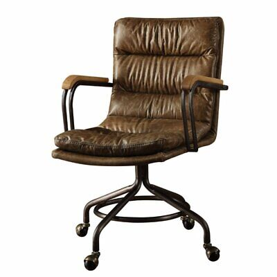 Bowery Hill Leather Swivel Office Chair in Vintage Whiskey