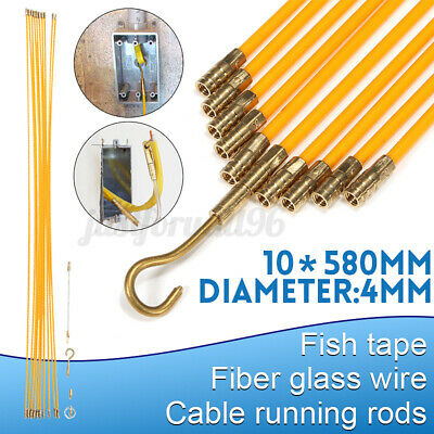 33 Fiberglass Running Wire Cable Coaxial Electrcal Fish Tape Kit Pull Push Us