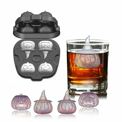 Halloween 4 Cast (4 Hole 3D Halloween Pumpkin Shape Ice Cube Mold Silicone Creative Ice Cube)