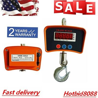 1100lbs Digital Crane Hanging Scale Heavy Duty Industrial Wled Display 500kg Us
