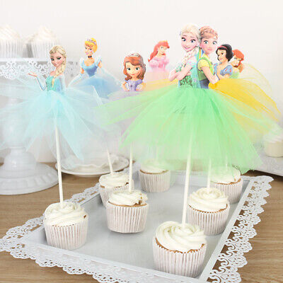 7pcs Disney Princess Cupcake Toppers Cake Decorations for Kids Birthday