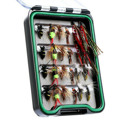 24pcs/lot Fly Fishing Lure Kit Box Waterproof Pocketed Dry Flies Nymph Bass Bait