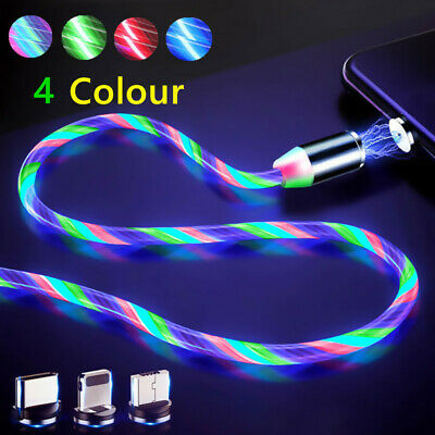 Led Light Magnetic Charger Cable Glow Fast Charging Micro USB Type C For Android