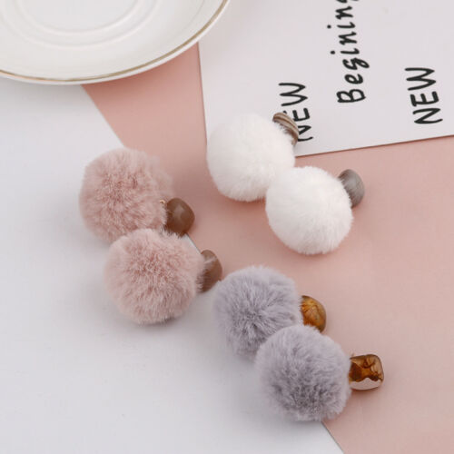 Trendy Women Acrylic Round Pom Pom Fur Ball Pendant Stud Drop Earrings Jewelry
