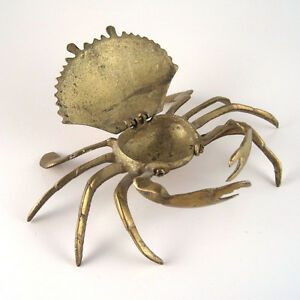 1940's Brass Crab-Shaped Inkwell, Ashtray, or Trinket Dish