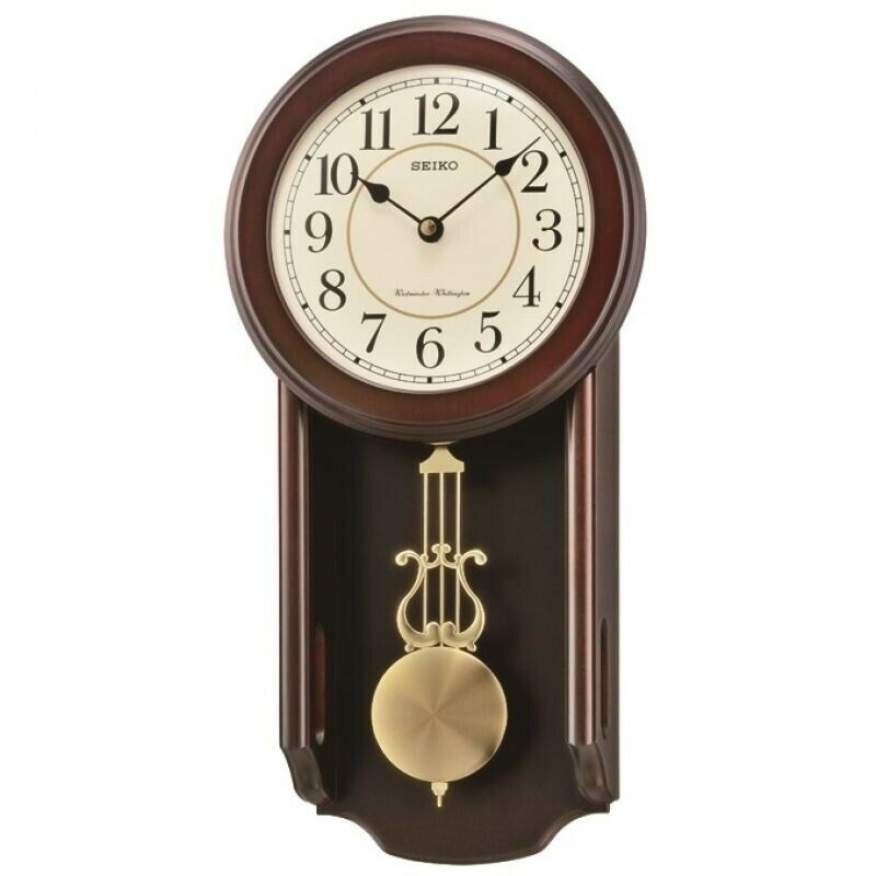 Seiko Wooden Clock with Pendulum QXH063B NEW