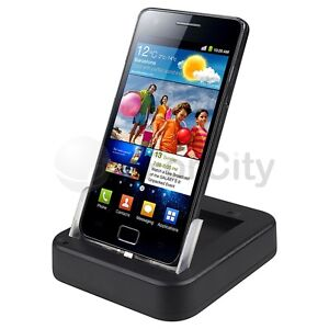 BLACK DUAL USB Sync Desktop Dock Cradle Charger For Samsung Galaxy S2 II i9100