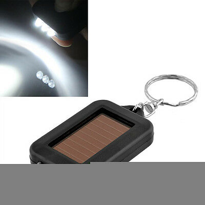 Portable Mini Solar Power 3LED Light Keychain Torch Flashlight Black New Gift