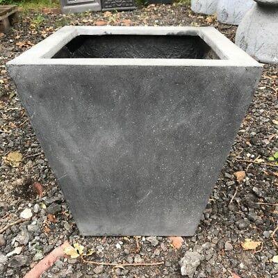 38cm CLEARANCE Black Stone Fibre Flared Square Planter/Box/Plant Pot