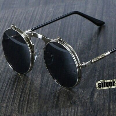 Vintage Steampunk Sunglasses Round Retro Flip Double Metal Eyewear Shades Men