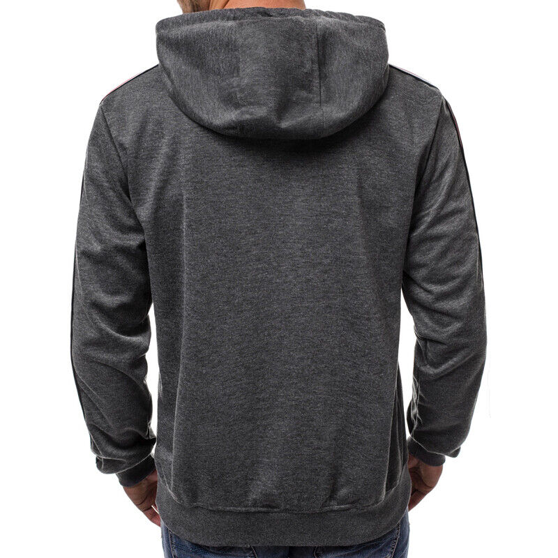Mens Hoodie Sweatshirt Hooded Casual Sports Sweats Pullover Front Pockets M-3XL