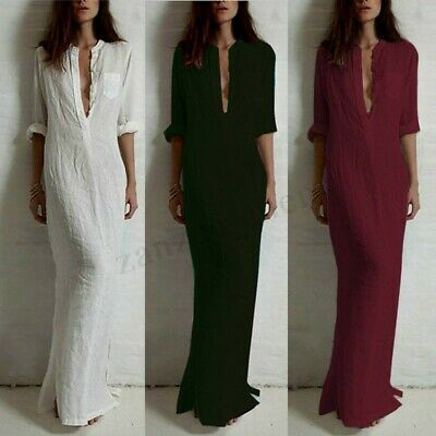 - US Stock Women's Long Maxi Dress Low Cut Ethnic Kaftan Full Length Shirt Dress