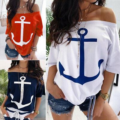 Women Off Shoulder Short Sleeve Loose T-Shirt Ladies Casual