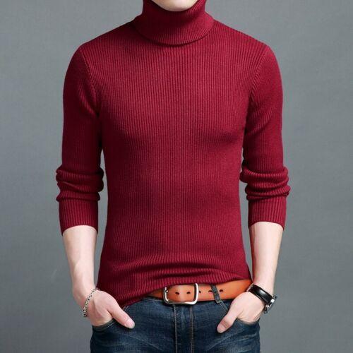 Turtleneck Mens Cardigan Sweater High Neck Pullover Slim Fit Wool Blend Knitwear