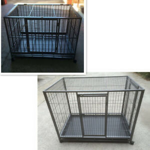 Large Metal Tube Pet Puppy Dog Cat Cage Crate with Tray Castor