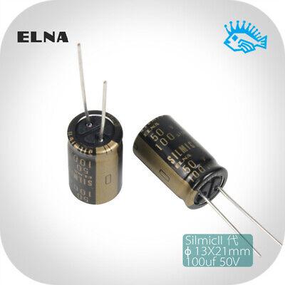 100uf 50v Elna Silmic Ii Rfs Silk Film Fever Audio Electrolytic Capacitor 13x21