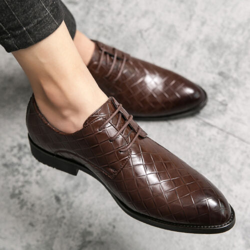 Details about  /Mens Low Top Leisure Business Leather Shoes Pointy Toe Chunky Printing Nightclub