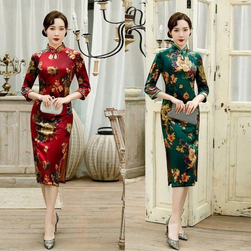 Women Velvet Short Cheongsam Dress Chinese Traditional Qipao Evening Prom dress