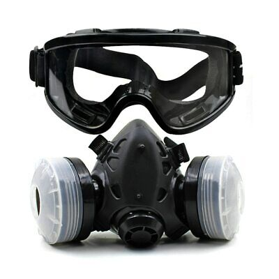Half Face Gas Mask With Protective Goggles Chemical Dustproof Gas Mask Filter