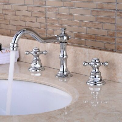 Homary Double Cross Handles Bathroom Widespread Sink Basin Faucet in Chrome