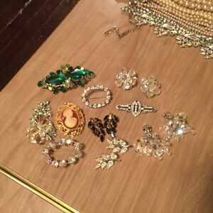 Vintage pins and earrings for sale