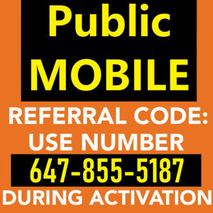 Free $25 Public Mobile Referral Credit 647-855-5187 publicmobile