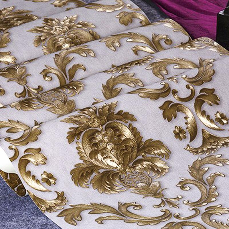 Luxury 3D Vinyl Wallpaper Gold Wall Paper Roll Textured