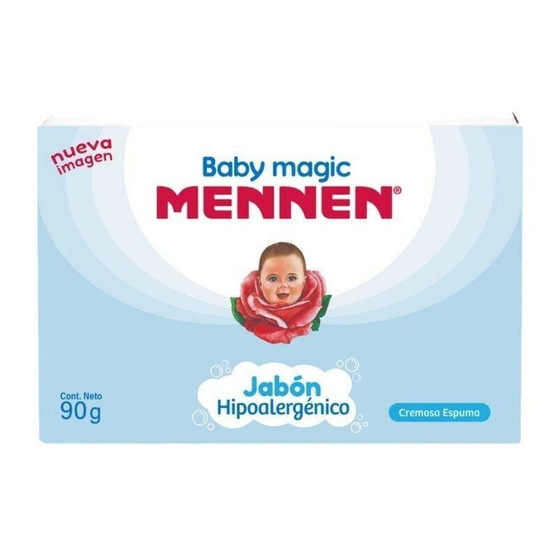3 PACK JABON HIPOALERGENICO EN BARRA BABY MAGIC MENNEN BABY BAR SOAP 90 G