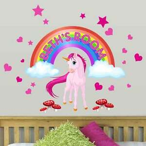Personalised Girls Unicorn Horse Fairy Tale Rainbow Wall