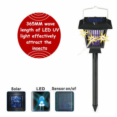 Outdoor Insect Fly Bug Pest Zapper Solar Mosquito Killer Led Lamp Garden Light