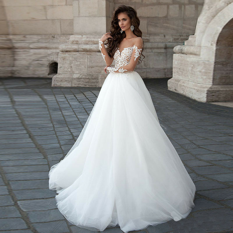 Backless Sheer Lace Bodice Wedding Dresses Tulle A Line Long Sleeve