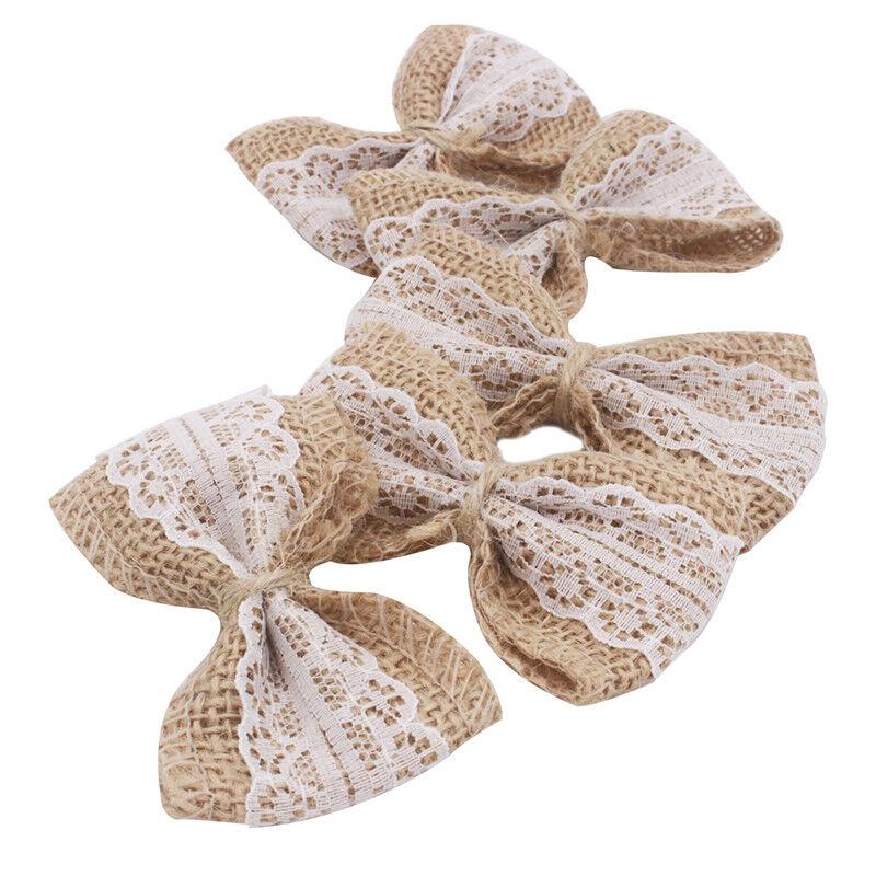 100pcs Khaki Burlap Ribbon Linen Bow Lace Trim Rustic Wedding Party Decoration