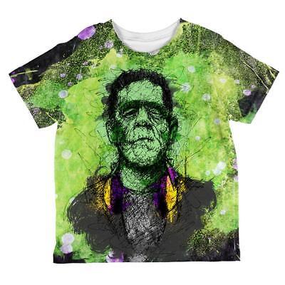 Halloween Frankenstein Raver Horror Movie Monster All Over Toddler T Shirt (Toddler Frankenstein)